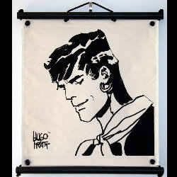 Hugo Pratt, Corto Maltese : Serigraph on linen canvas, Mu