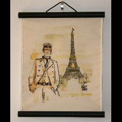 Hugo Pratt, Corto Maltese : Serigraph on linen canvas, Paris