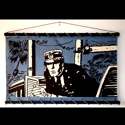 Hugo Pratt, Corto Maltese : Serigraph on linen canvas, Port Ducal (blue)