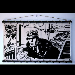 Hugo Pratt, Corto Maltese : Serigraph on linen canvas, Port Ducal (écru)