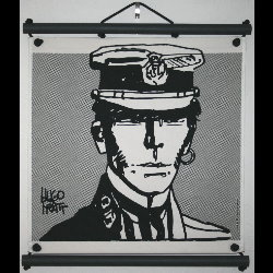 Hugo Pratt, Corto Maltese : Serigraph on linen canvas, Portrait