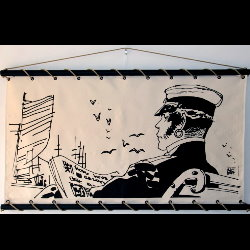 Hugo Pratt, Corto Maltese : Serigraph on linen canvas, Quai