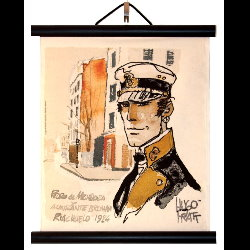 Hugo Pratt, Corto Maltese : Serigraph on linen canvas, Riachuelo