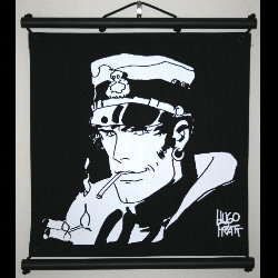 Hugo Pratt, Corto Maltese : Serigraph on linen canvas, Smoking
