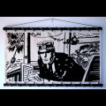 Corto Maltese serigraph on canvas, Port Ducal (Ecru)