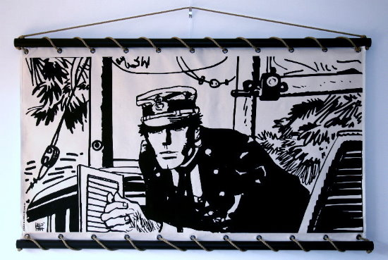 Hugo Pratt serigraph on decorative wall panel - Corto Maltese, Port Ducal (Ecru)