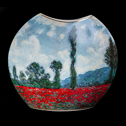 Vaso in porcellana Claude Monet : Campo di Poppy, campo di tulipano