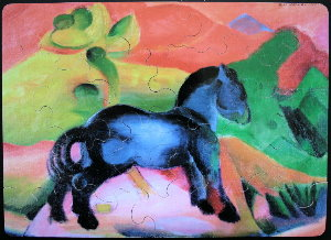 Franz Marc puzzle for kids : The blue horse