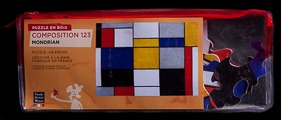 Piet Mondrian wooden puzzle case for kids : Composition 123