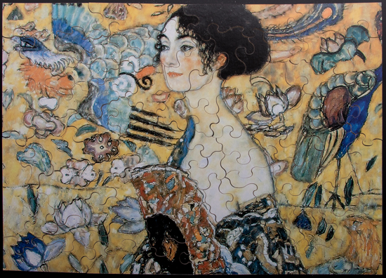 Gustav Klimt wooden puzzle for kids : Lady with fan
