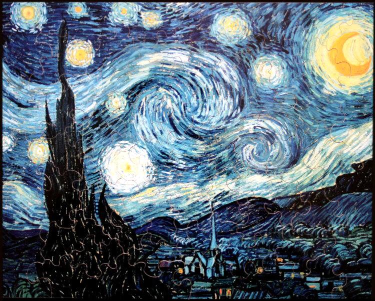 Puzzles en bois pour enfants vincent van gogh la nuit for La notte stellata vincent van gogh
