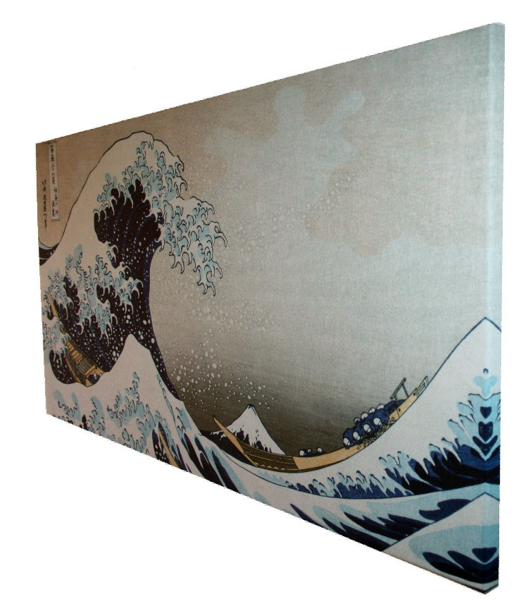 stampa su tela hokusai la grande onda di kanagawa 100 x 50 cm. Black Bedroom Furniture Sets. Home Design Ideas