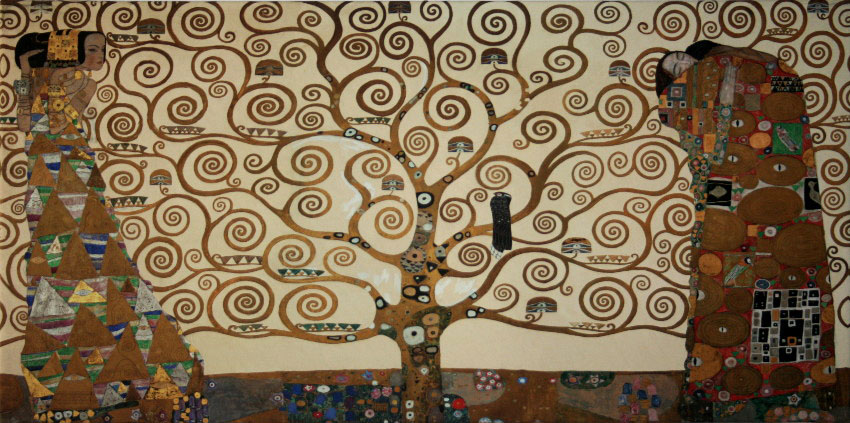 Gustav Klimt Fine Art Print On Canvas 100 X 50 Cm The