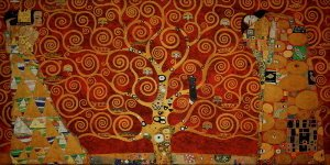 Gustav Klimt canvas print : The tree of life (on red)