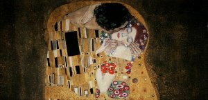 Gustav Klimt canvas print : The kiss (detail 100x50)