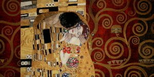 Gustav Klimt canvas print : The kiss (on red)