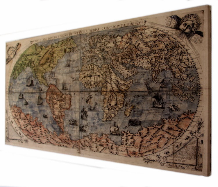 toile mappemonde description universelle de la terre 1565 100 x 50 cm. Black Bedroom Furniture Sets. Home Design Ideas