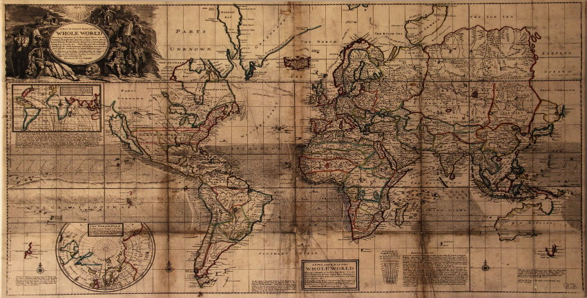 toile mappemonde correct map of the whole world 1719 100 x 50 cm. Black Bedroom Furniture Sets. Home Design Ideas