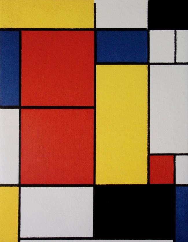 toile piet mondrian composition 2 60 x 80 cm. Black Bedroom Furniture Sets. Home Design Ideas