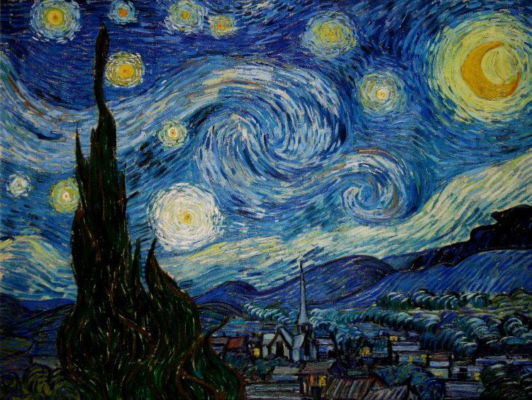 Vincent van gogh notte stellata stampa su tela 80 x 60 cm for La notte stellata vincent van gogh