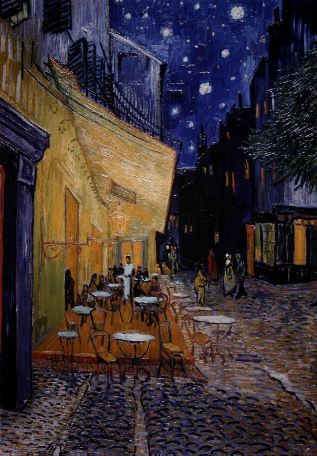 Toile Vincent Van Gogh  Terrasse dun café de nuit  80 x 60 cm