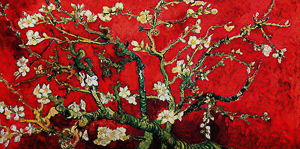 Vincent Van Gogh canvas print : Almond Branch in bloom (red)