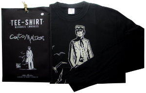 Hugo Pratt T-shirt : 40 years ! Black, Long sleeves