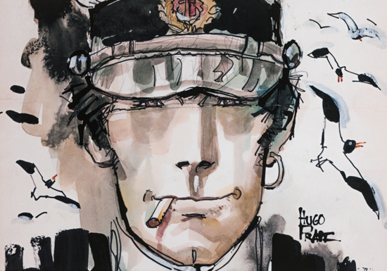 Hugo Pratt canvas Art print, The look of Corto Maltese
