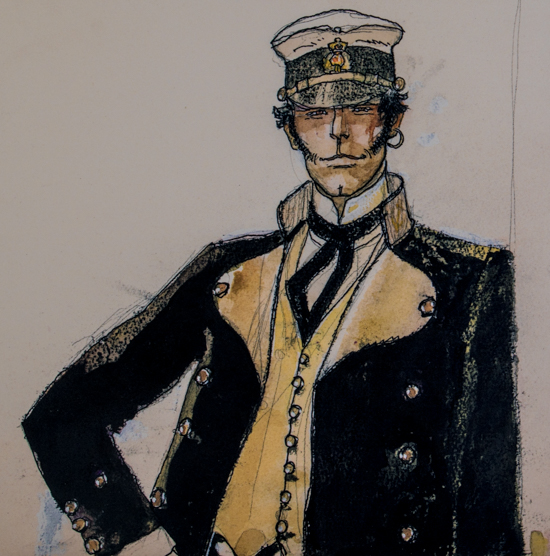 Hugo Pratt canvas Art print, Corto Maltese in piedi