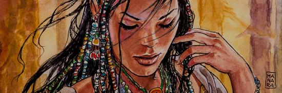 Reproduction sur toile Milo Manara, Indian II